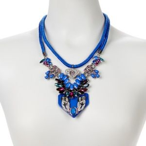 Luxe Jewel Tone Blue Deco Necklace